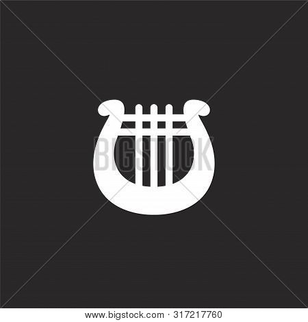 Lyre Icon. Lyre Icon Vector Flat Illustration For Graphic And Web Design Isolated On Black Backgroun