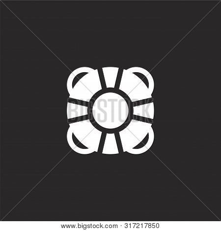 Lifesaver Icon. Lifesaver Icon Vector Flat Illustration For Graphic And Web Design Isolated On Black