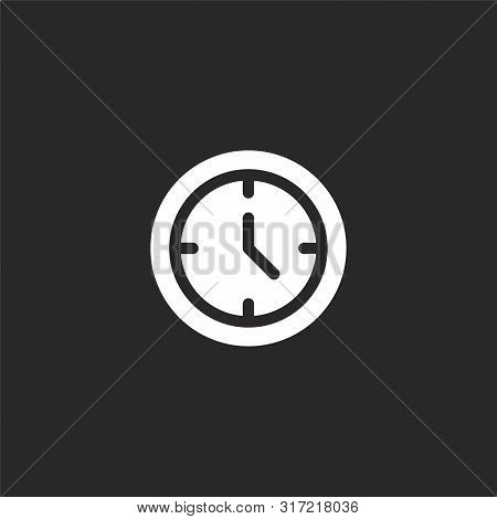 Wall Clock Icon. Wall Clock Icon Vector Flat Illustration For Graphic And Web Design Isolated On Bla