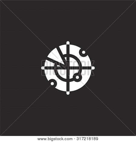 Radar Icon. Radar Icon Vector Flat Illustration For Graphic And Web Design Isolated On Black Backgro