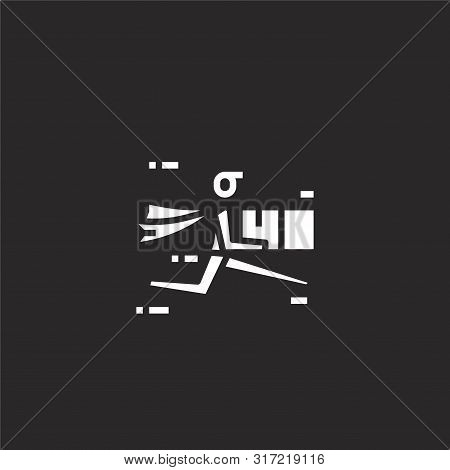 Courier Icon. Courier Icon Vector Flat Illustration For Graphic And Web Design Isolated On Black Bac
