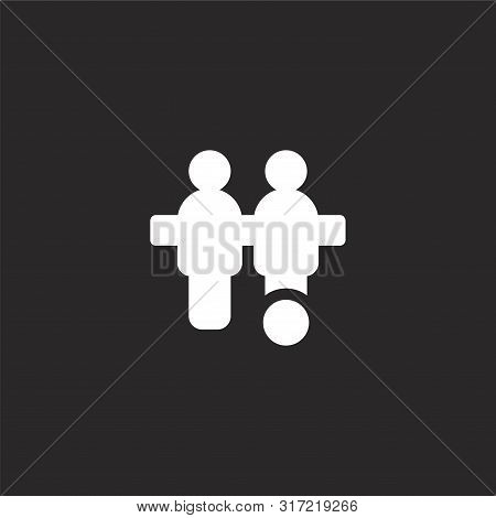 Foosball Icon. Foosball Icon Vector Flat Illustration For Graphic And Web Design Isolated On Black B