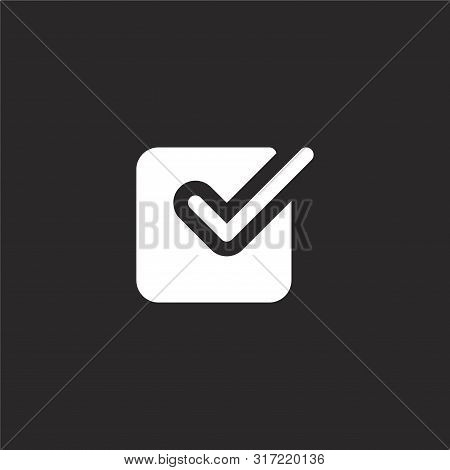 Checkmark Icon. Checkmark Icon Vector Flat Illustration For Graphic And Web Design Isolated On Black