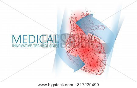 Total Healthy Heart Beats 3d Medicine Low Poly Concept. Triangle Red Pharmacy Drugstore Background.