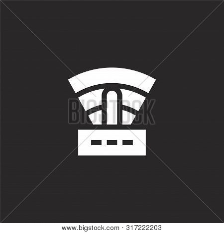 Router Icon. Router Icon Vector Flat Illustration For Graphic And Web Design Isolated On Black Backg