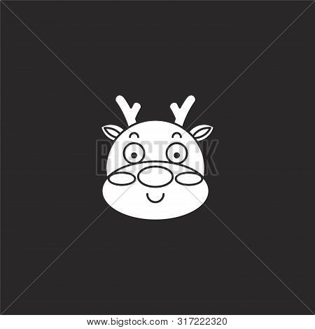 Deer Icon. Deer Icon Vector Flat Illustration For Graphic And Web Design Isolated On Black Backgroun