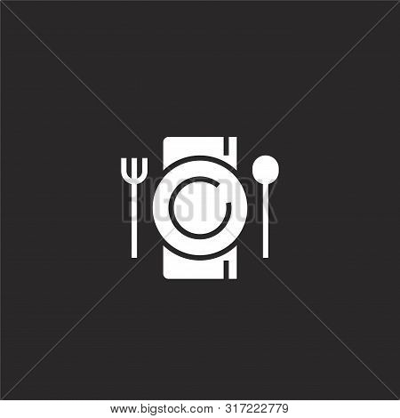 Dinner Icon. Dinner Icon Vector Flat Illustration For Graphic And Web Design Isolated On Black Backg