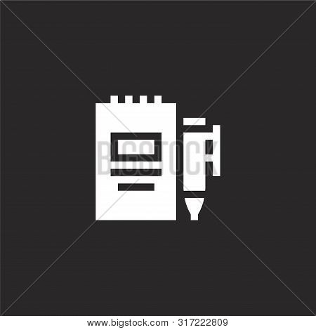 Agenda Icon. Agenda Icon Vector Flat Illustration For Graphic And Web Design Isolated On Black Backg