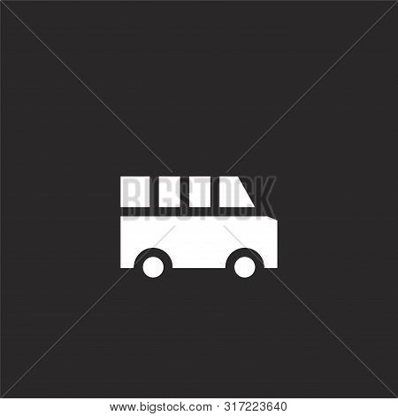Bus Icon. Bus Icon Vector Flat Illustration For Graphic And Web Design Isolated On Black Background