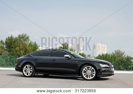 September 10, Kyiv, Ua. Audi S7 Quattro On The Background Of The City