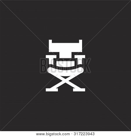 Director Chair Icon. Director Chair Icon Vector Flat Illustration For Graphic And Web Design Isolate