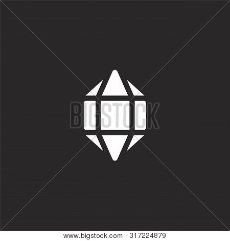 Crystal Icon. Crystal Icon Vector Flat Illustration For Graphic And Web Design Isolated On Black Bac