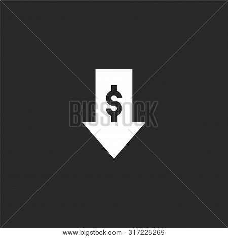 Loss Icon. Loss Icon Vector Flat Illustration For Graphic And Web Design Isolated On Black Backgroun