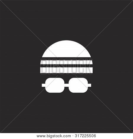 Swim Cap Icon. Swim Cap Icon Vector Flat Illustration For Graphic And Web Design Isolated On Black B