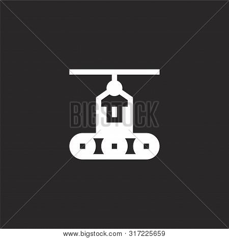 Conveyor Icon. Conveyor Icon Vector Flat Illustration For Graphic And Web Design Isolated On Black B