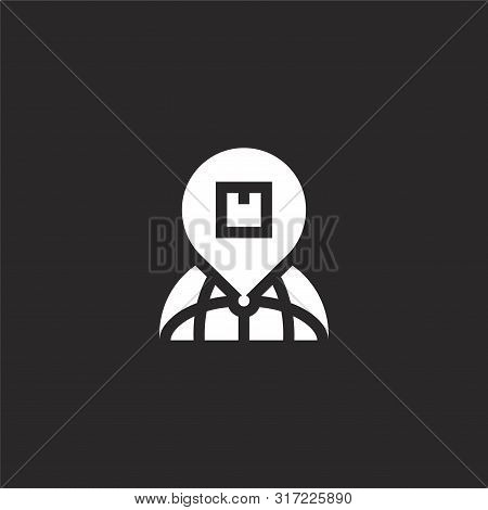 Address Icon. Address Icon Vector Flat Illustration For Graphic And Web Design Isolated On Black Bac