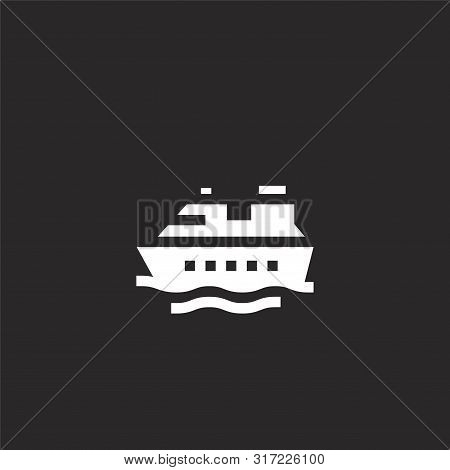 Cruise Icon. Cruise Icon Vector Flat Illustration For Graphic And Web Design Isolated On Black Backg