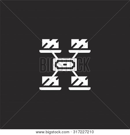 Nodes Icon. Nodes Icon Vector Flat Illustration For Graphic And Web Design Isolated On Black Backgro