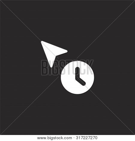 Waiting Icon. Waiting Icon Vector Flat Illustration For Graphic And Web Design Isolated On Black Bac