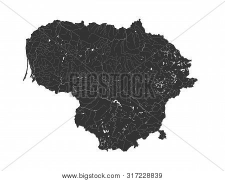 Baltic States - Map Of Lithuania. Hand Made. Rivers And Lakes Are Shown. Please Look At My Other Ima