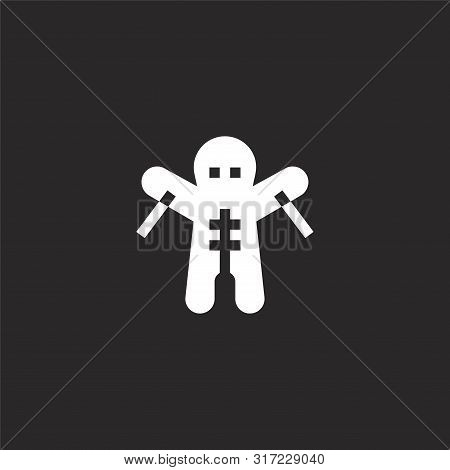 Voodoo Doll Icon. Voodoo Doll Icon Vector Flat Illustration For Graphic And Web Design Isolated On B