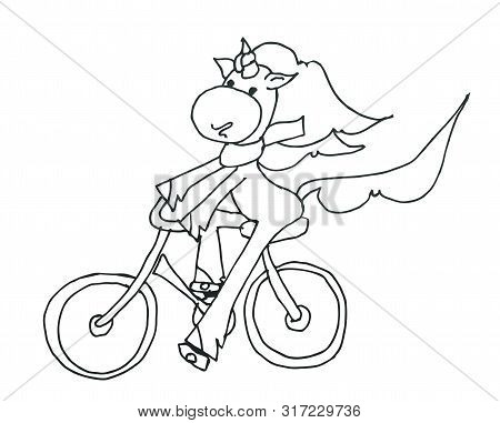 Coloring Book For Kids - Unicorn Smiling And Riding A Bicycle In A Beautiful Scarf. Black And White