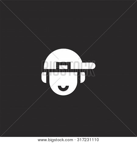 Rapper Icon. Rapper Icon Vector Flat Illustration For Graphic And Web Design Isolated On Black Backg
