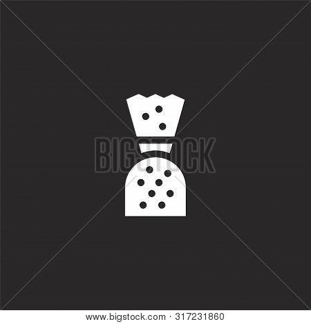 Bonbon Icon. Bonbon Icon Vector Flat Illustration For Graphic And Web Design Isolated On Black Backg