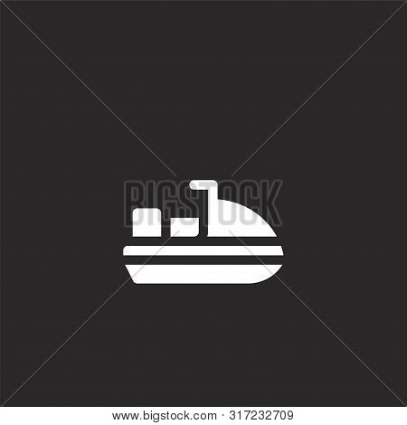 Jet Ski Icon. Jet Ski Icon Vector Flat Illustration For Graphic And Web Design Isolated On Black Bac