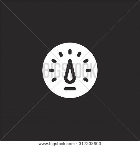 Speedometer Icon. Speedometer Icon Vector Flat Illustration For Graphic And Web Design Isolated On B