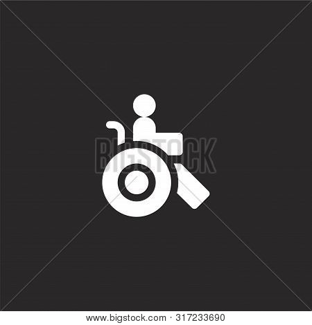 Disabled Icon. Disabled Icon Vector Flat Illustration For Graphic And Web Design Isolated On Black B
