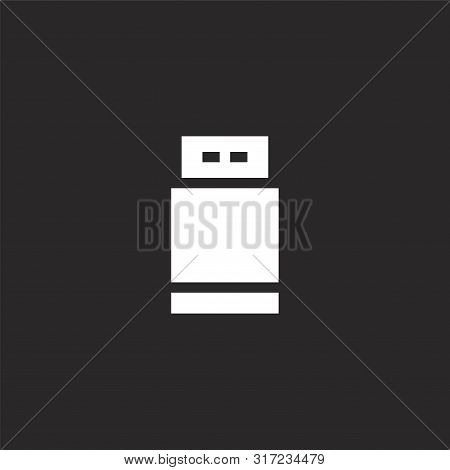 Flash Drive Icon. Flash Drive Icon Vector Flat Illustration For Graphic And Web Design Isolated On B