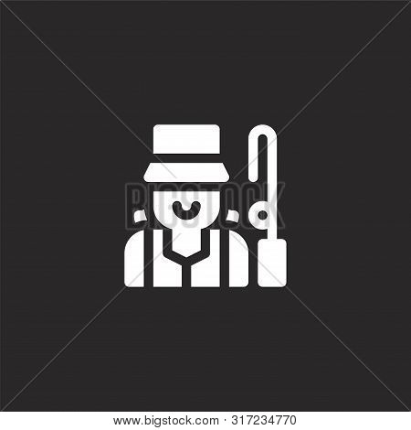 Fisher Icon. Fisher Icon Vector Flat Illustration For Graphic And Web Design Isolated On Black Backg