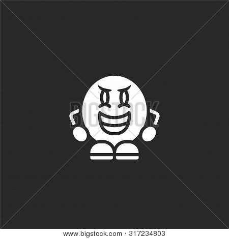 Evil Icon. Evil Icon Vector Flat Illustration For Graphic And Web Design Isolated On Black Backgroun