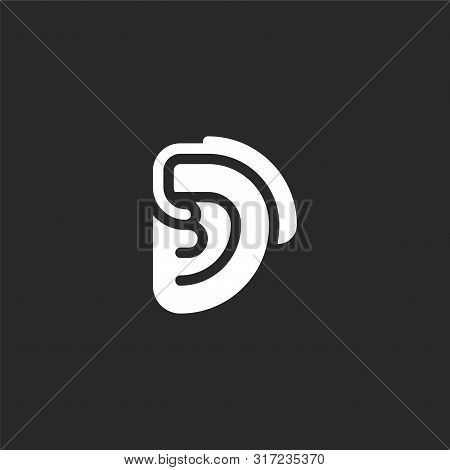 Hearing Aid Icon. Hearing Aid Icon Vector Flat Illustration For Graphic And Web Design Isolated On B
