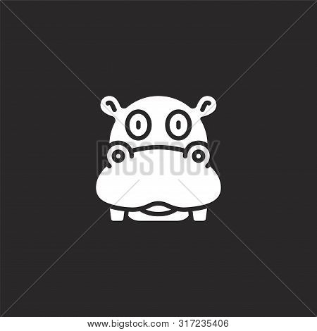 Hippo Icon. Hippo Icon Vector Flat Illustration For Graphic And Web Design Isolated On Black Backgro