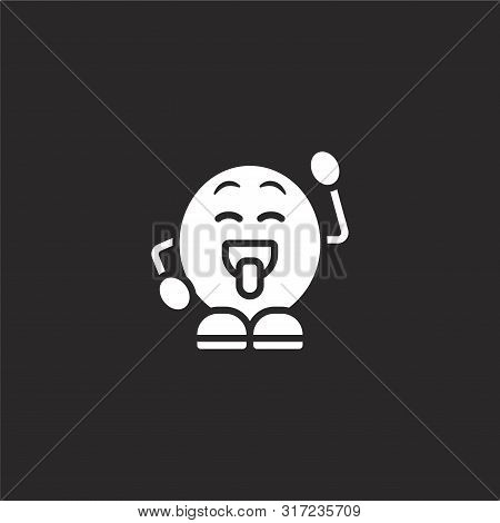 Cheeky Icon. Cheeky Icon Vector Flat Illustration For Graphic And Web Design Isolated On Black Backg