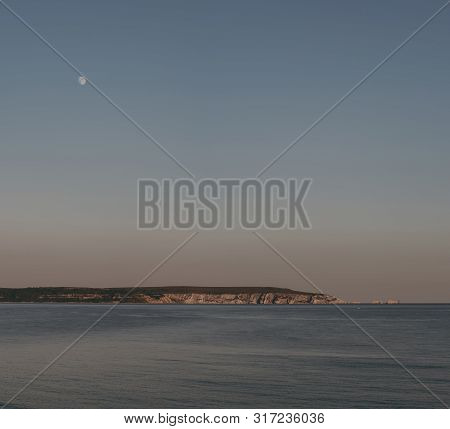 View Of The Needles On Isle Of Wight From Milford On Sea, New Forest, Uk, On A Clear Warm Summer Eve