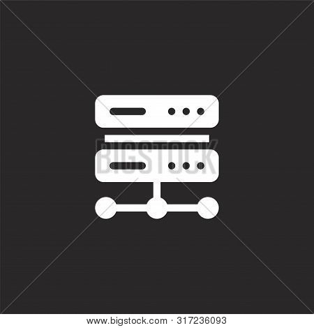 Server Icon. Server Icon Vector Flat Illustration For Graphic And Web Design Isolated On Black Backg