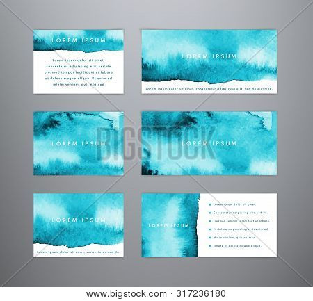 Set Of Abstract Horizontal Blue Watercolor Templates. Sea Watercolor Backgrounds. Templates For Bann
