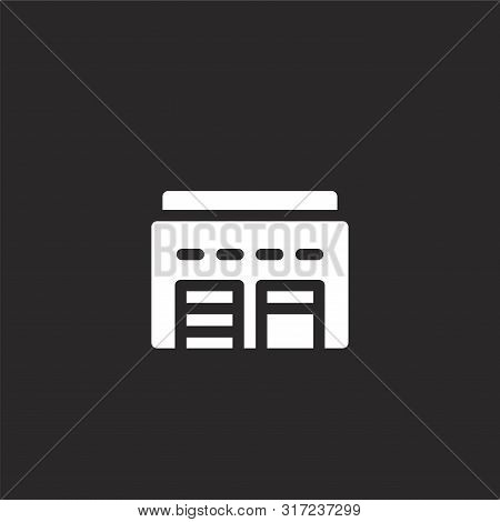 Warehouse Icon. Warehouse Icon Vector Flat Illustration For Graphic And Web Design Isolated On Black