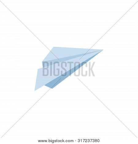 Paper Airplane Icon. Send, Submit, Upload Sign, Symbol. Aircraft, Flying Machine. Blue Airplane. Pap