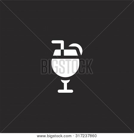 Cocktail Icon. Cocktail Icon Vector Flat Illustration For Graphic And Web Design Isolated On Black B