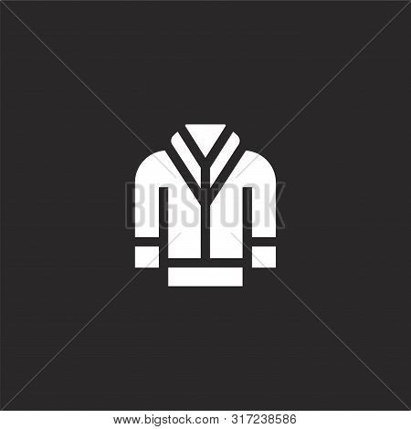 Hoodie Icon. Hoodie Icon Vector Flat Illustration For Graphic And Web Design Isolated On Black Backg