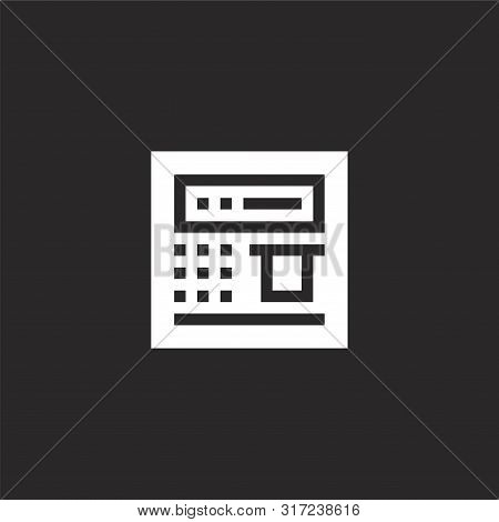 Atm Icon. Atm Icon Vector Flat Illustration For Graphic And Web Design Isolated On Black Background