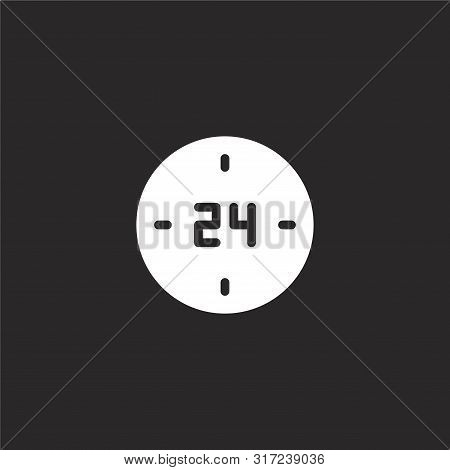 Hours Icon. Hours Icon Vector Flat Illustration For Graphic And Web Design Isolated On Black Backgro