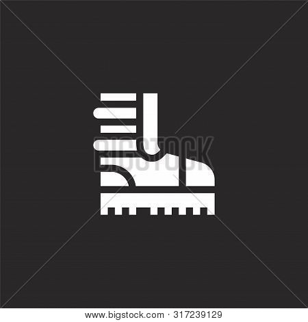 Boots Icon. Boots Icon Vector Flat Illustration For Graphic And Web Design Isolated On Black Backgro