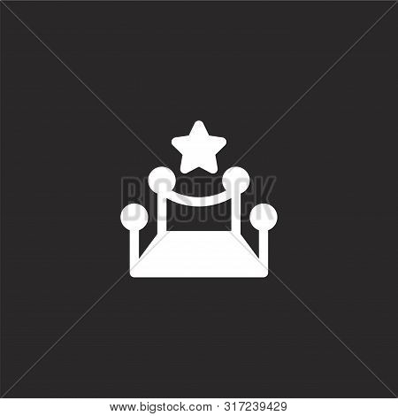 Red Carpet Icon. Red Carpet Icon Vector Flat Illustration For Graphic And Web Design Isolated On Bla