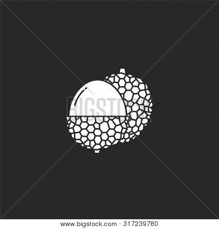 Lychee Icon. Lychee Icon Vector Flat Illustration For Graphic And Web Design Isolated On Black Backg