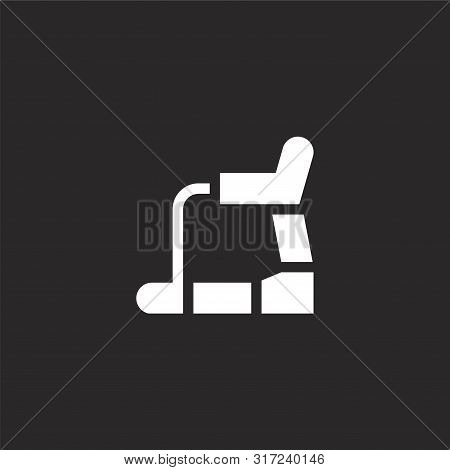 Treadmill Icon. Treadmill Icon Vector Flat Illustration For Graphic And Web Design Isolated On Black